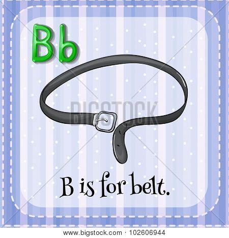 Flashcard letter B is for belt illustration