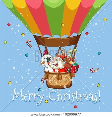 Christmas poster with Santa on balloon illustration
