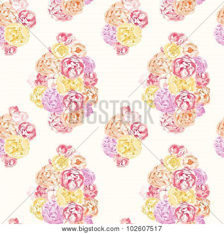 Seamless colorful pattern with flowers of peonies and roses
