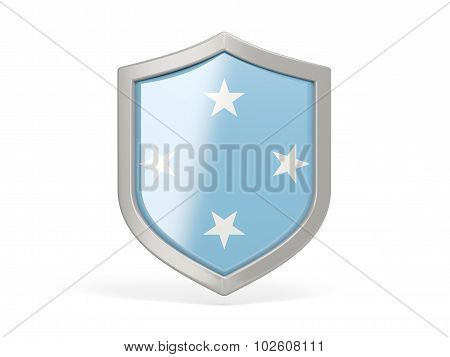 Shield Icon With Flag Of Micronesia