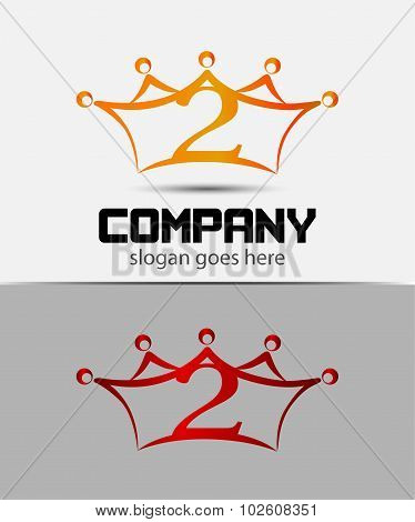Abstract Number 2 logo Symbol crown icon set