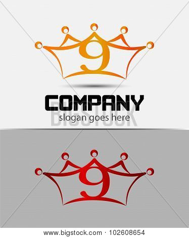 Number 9 logo. Vector logotype design