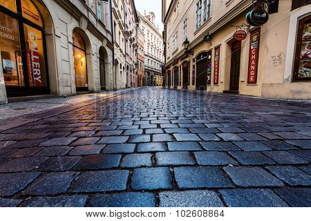 PRAGUE, CZECH REPUBLIC - SEPTEMBER 04, 2015: Night streets of Prague. Prague is the capital and largest city of the Czech Republic