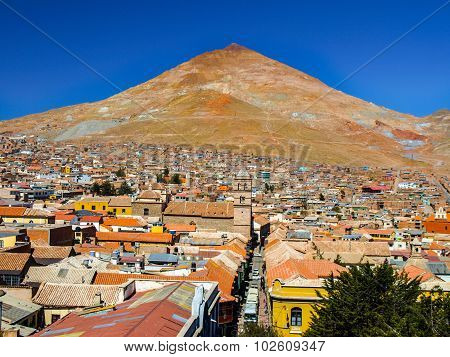 Cerro Rico Mountain above Potosi in Bolivia