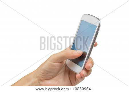 Female Hand Is Holding Smart Phone Isolated
