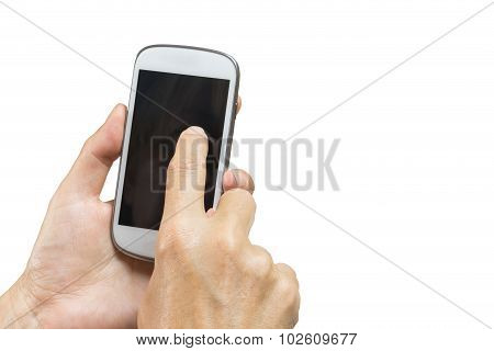 Female Hand Is Writing Sms On A Smart Phone
