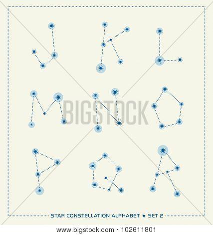 star constellation alphabet letters font set 1