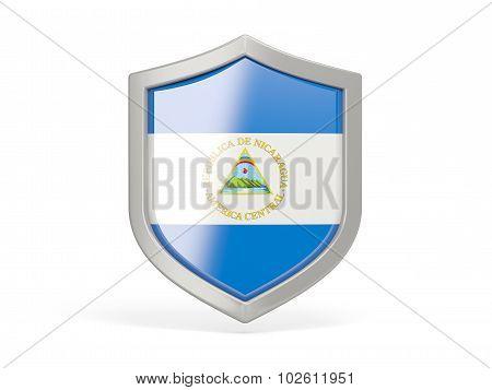 Shield Icon With Flag Of Nicaragua