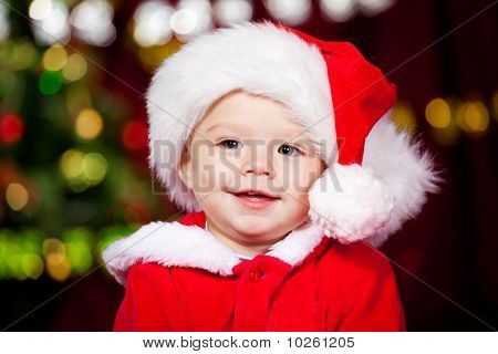 Baby Boy In Santa Hat
