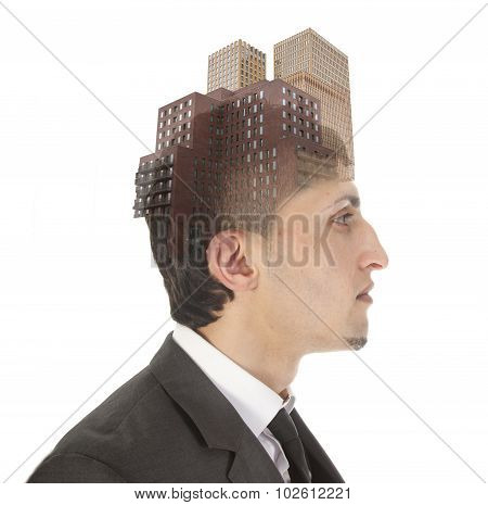 Double Exposure Of Business Man With Skyscrapers Isolated On White Background