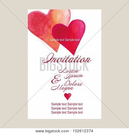 Wedding Invitation Card Suite With Hearts