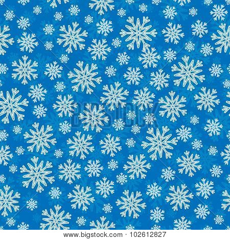 Christmas Seamless Pattern With White Blue Snowflakes