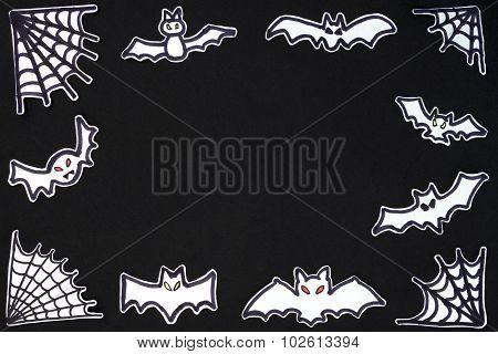 Halloween Frame Bats And Spiderwerb Horizontal