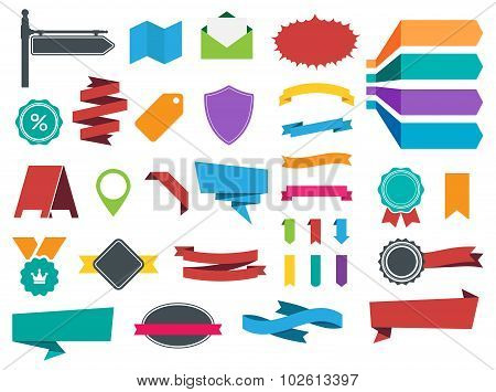 Ribbons Banners Labels Stickers Vector Set