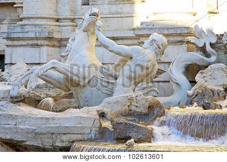 Triton And Hippocampus Statue, Part Of Trevi Fountain In Rome, Italy