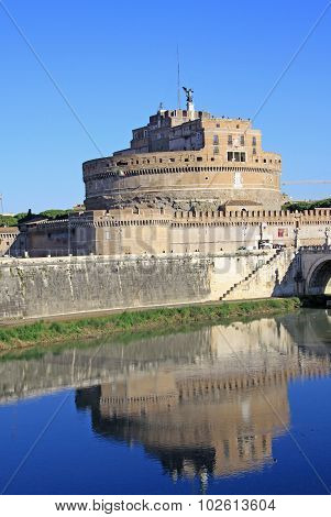 Castel Sant Angelo And Tiber River. Rome, Italy.