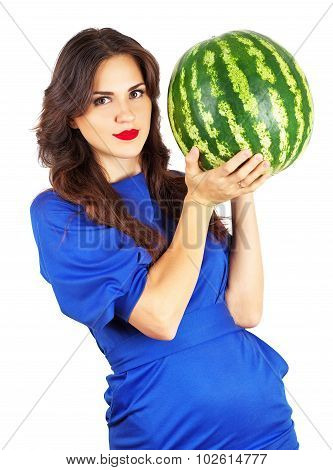 Beautiful Attractive Girl Holding Heavy Watermelon. Beautiful Young Woman With Juicy Watermelon Over
