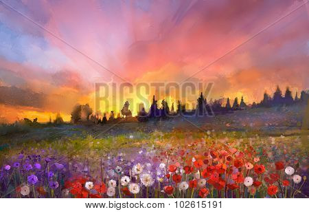 Oil Painting Poppy, Dandelion, Daisy Flowers In Fields