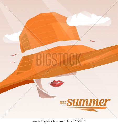 Beautiful portrait woman wearing elegant wide-brimmed hat. Vector vintage illustration. Miss Summer.