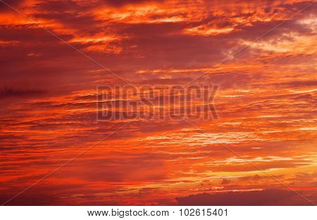 Fiery Orange Sunset Sky. Bright Orange, Red And Yellow Colors Sunset Sky. Light After The Sunset