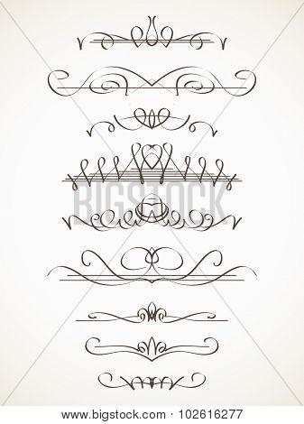 Hand drawn decorative line border set, Calligraphic design element