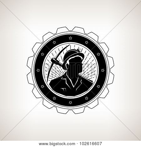 Miner With Pick Axe, Vintage Emblem