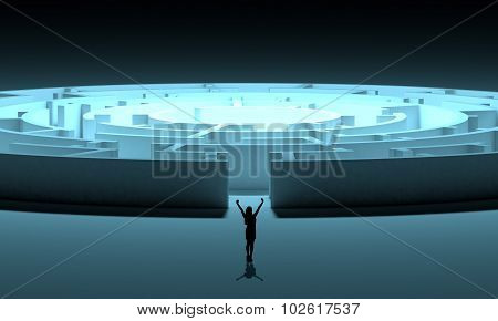 Businesswomans silhouette with 3d labyrinth