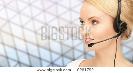 business, people, technology and communication concept - happy female helpline operator in headset over glass ceiling background