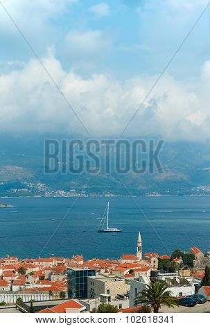 Top View Of The Seacoast Of Budva, Montenegro.