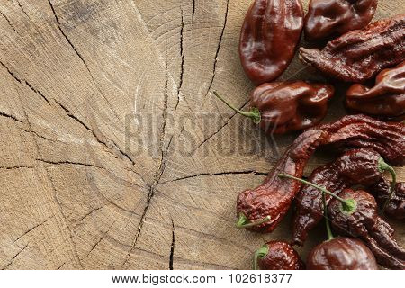 Various brown hot peppers