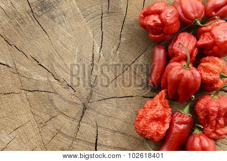 Various red hot peppers