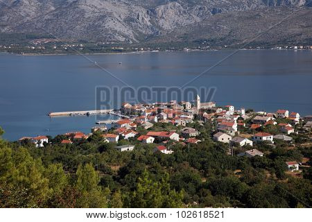 Vinjerac, a small coastal town on the Adriatic Sea in Croatia