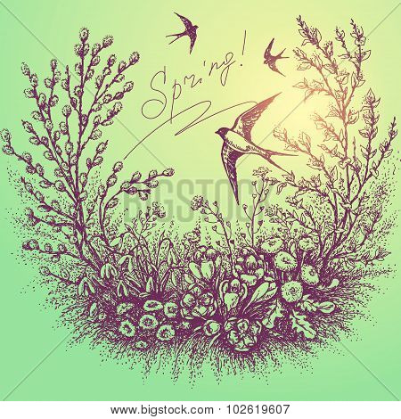 Spring Floral Frame With Swallows