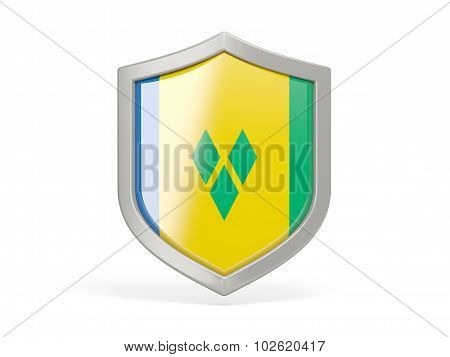 Shield Icon With Flag Of Saint Vincent And The Grenadines