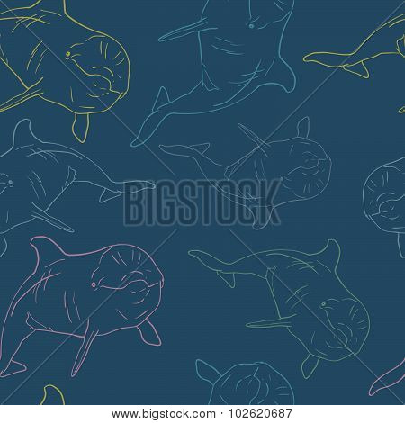 Dolphin seamless vector pattern