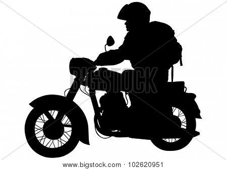 Motorcyclist on bike on a white background