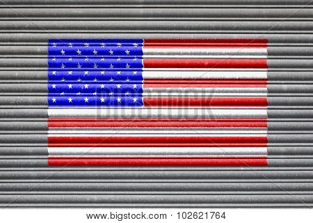American Flag On Metal Shutter