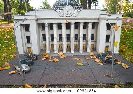 KIEV, UKRAINE - September 23, 2015: Entertaiment Park Ukraine in Miniature (Small scale Ukraine).Building of Ukrainian Parliament (Verhovna Rada)
