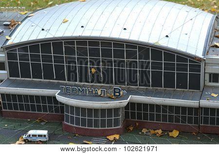 KIEV, UKRAINE - September 23, 2015: Entertaiment Park Ukraine in Miniature (Small scale Ukraine).Borispol Airport in Kiev