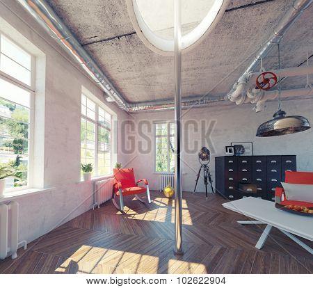 the modern loft interior with fire pole concept design (3d render)