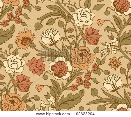 Beige seamless pattern with a vintage flower bouquets carnations and chrysanthemums