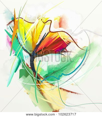 Abstract oil painting of spring flowers. Still life of yellow and red color flowe