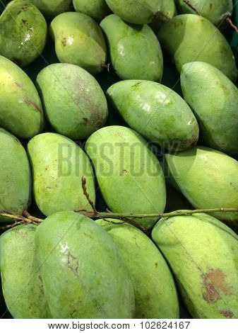 Top view Green mango on supermarket