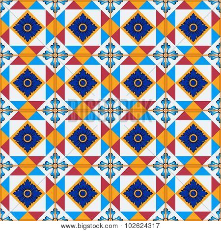 Gorgeous seamless  pattern from Moroccan, Portuguese  tiles, Azulejo, ornaments. Can be used for wal