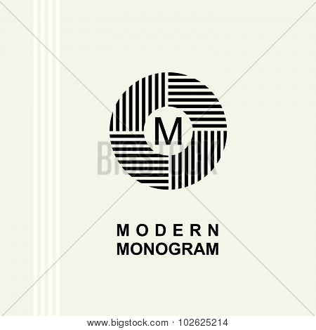 Modern monogram, emblem, logo. Ring of the parallel stripes.