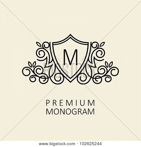 Premium Modern monogram, emblem, logo design template with letter M. Vector illustration.