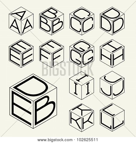 Set 1 template of the letters inscribed in the three sides of the cube, hexagon.  To create monogram