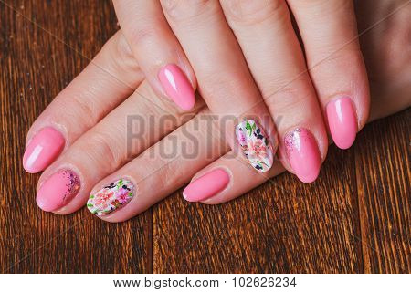 Light Pink Nail Art With Printed Flowers