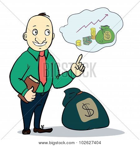 Man with money. Vector illustration