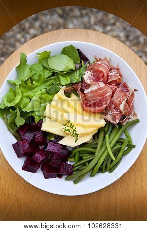 Salad, Ham And Cheese On A Plate